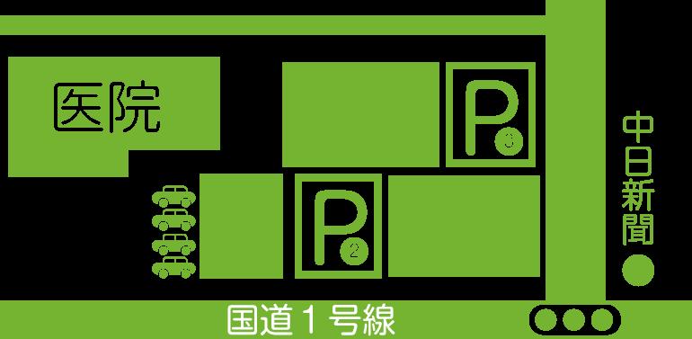 三重県桑名市江場 TNデンタルクリニック 駐車場マップ